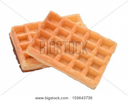 Two belgian thin waffels isolated on white