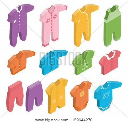 Isometric icon set children's clothes for newborn baby girl or boy on white background. Overalls shirt rompers pants and baby's loose jacket. Collection of clothing. Vector 3d illustration.
