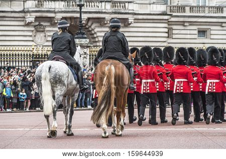 LONDON, THE UK-MAY 2016: Royal guards changing ceremony at London streets Whitehall