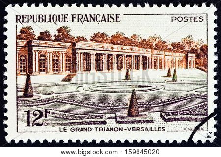FRANCE - CIRCA 1956: A stamp printed in France shows Grand Trianon, Versailles, circa 1956.