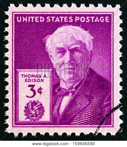 USA - CIRCA 1947: A stamp printed in USA issued for the 100th anniversary of the birth of Thomas A. Edison shows Thomas A. Edison, circa 1947.