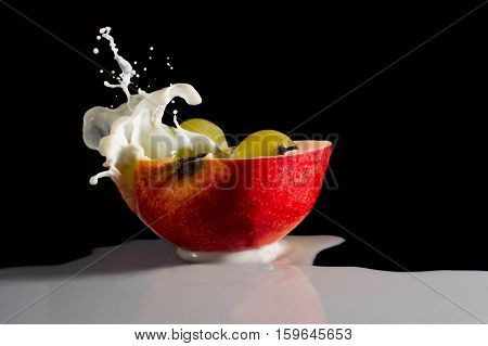 apple with milk splash grapes, cold, natural