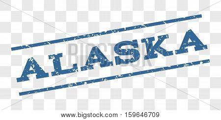 Alaska watermark stamp. Text caption between parallel lines with grunge design style. Rubber seal stamp with scratched texture. Vector cobalt blue color ink imprint on a chess transparent background.
