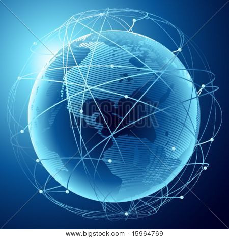 Moderne Erde in ein Netz von Satelliten
