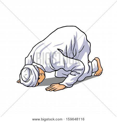 Muslim Doing Salah, Salat, Shalat, Sholaat, Sujud Vector