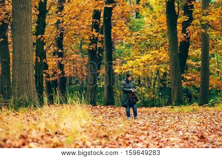 Woman Checking Smartphone On Path In Autumn Forest.