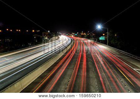 Light trails over H1 highway in Honolulu, Hawaii