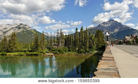 Bridge over the river. Banff town. Alberta, Canada. September 17, 2016
