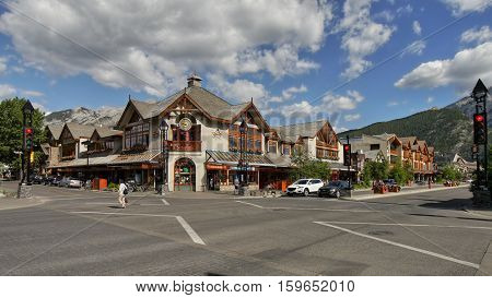 Banff's main street. A town in Alberta, Canada. June 20, 2016
