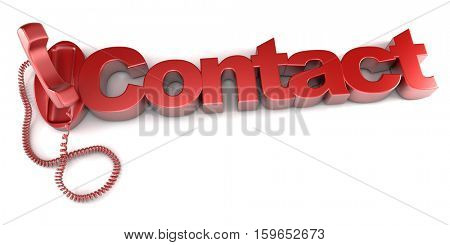 3D rendering of an unhooked red telephone and the word contact
