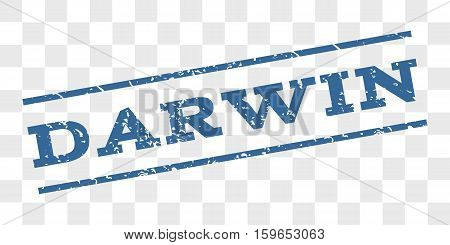 Darwin watermark stamp. Text tag between parallel lines with grunge design style. Rubber seal stamp with scratched texture. Vector cobalt blue color ink imprint on a chess transparent background.