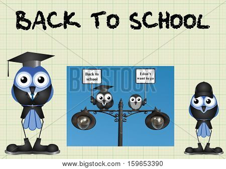 Comical back to school message on graph paper background