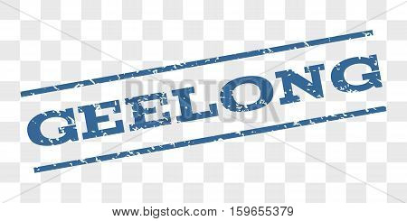 Geelong watermark stamp. Text tag between parallel lines with grunge design style. Rubber seal stamp with dust texture. Vector cobalt blue color ink imprint on a chess transparent background.