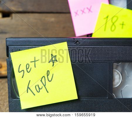 Sex tape label on a Video VHS cassette tape