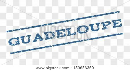 Guadeloupe watermark stamp. Text tag between parallel lines with grunge design style. Rubber seal stamp with unclean texture. Vector cobalt blue color ink imprint on a chess transparent background.