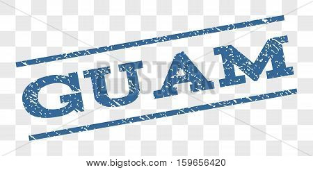 Guam watermark stamp. Text caption between parallel lines with grunge design style. Rubber seal stamp with dust texture. Vector cobalt blue color ink imprint on a chess transparent background.