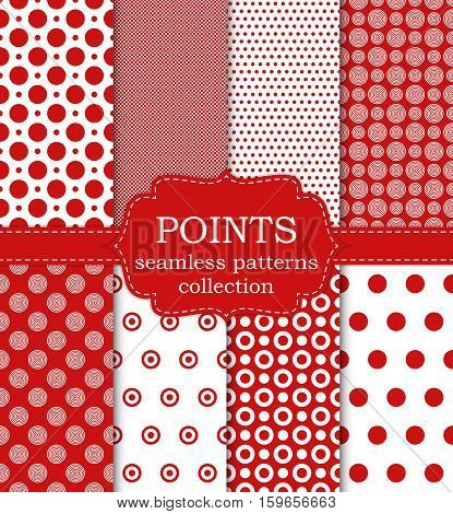 Vector illustration set of seamless patterns points. Stock vector
