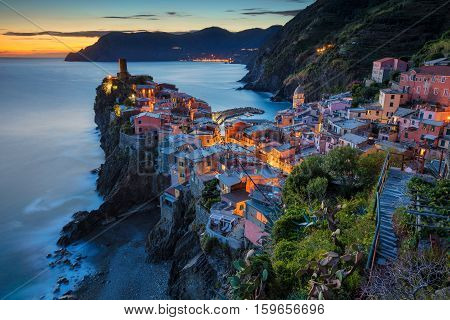 Village of Vernazza. Image of Vernazza (Cinque Terre, Italy), during sunset.