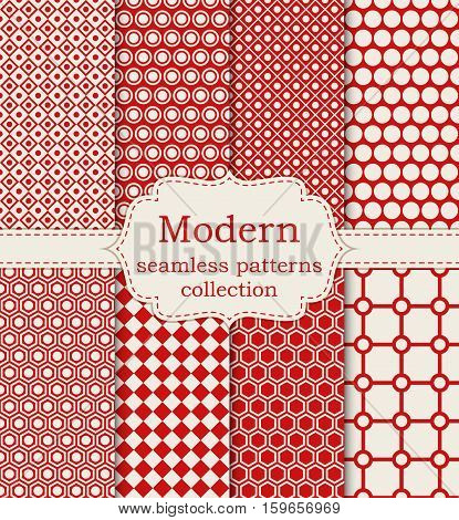 Vector illustration set of seamless modern patterns. Stock vector