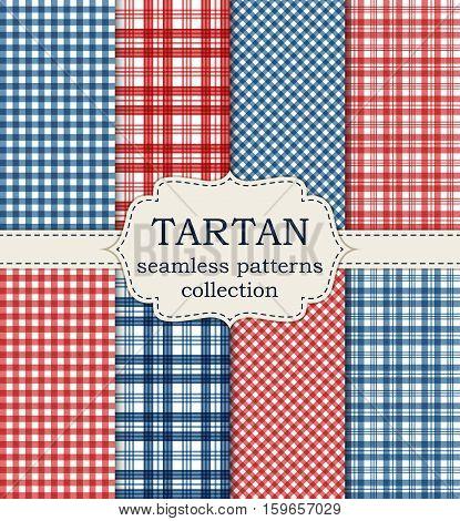 Vector illustration set of seamless tartan patterns. Stock vector