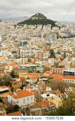 View Of The Mount Lycabettus And Red Roofs In The Center Of Athens, Greece. Photo Taken From Akropol