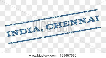 India, Chennai watermark stamp. Text tag between parallel lines with grunge design style. Rubber seal stamp with scratched texture.