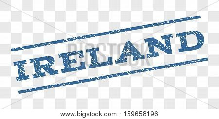 Ireland watermark stamp. Text caption between parallel lines with grunge design style. Rubber seal stamp with dirty texture. Vector cobalt blue color ink imprint on a chess transparent background.