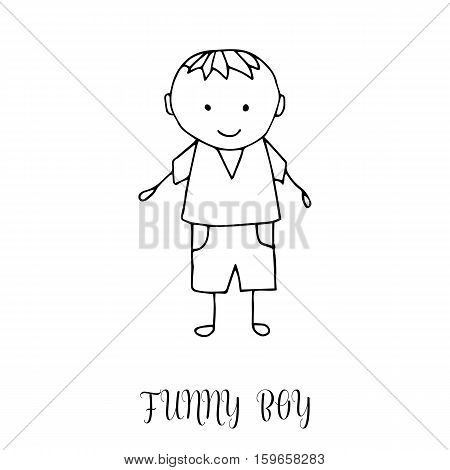 Funny Little Boy. Hand Drawing In Cute Kids Style. Design Element For Decoration Souvenirs, Cards, P