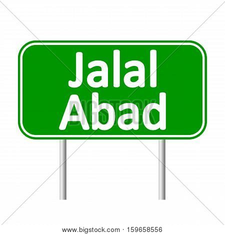 Jalal-Abad road sign isolated on white background.
