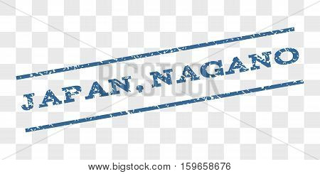 Japan, Nagano watermark stamp. Text caption between parallel lines with grunge design style. Rubber seal stamp with scratched texture.