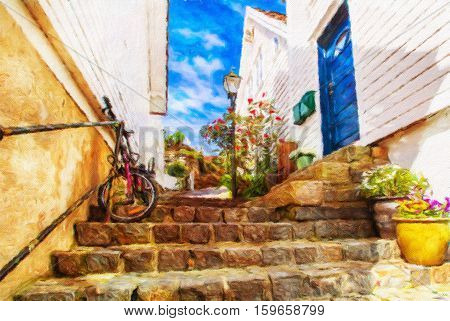 Street with white wooden houses in old center of Stavanger. Norway. Oil painting effect.