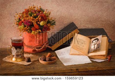 Still life with bright dried flowers old books glass in cup holder and truffle chocolates. Oil painting effect.