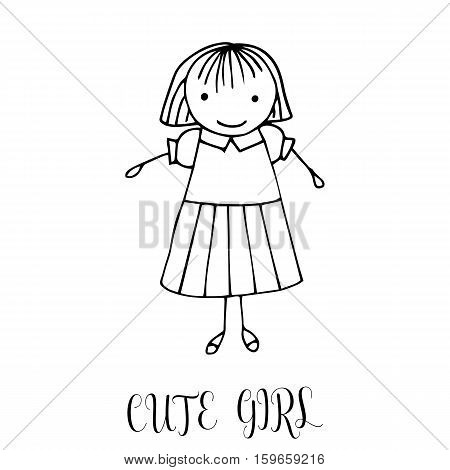 Cute little girl. Hand drawing in funny kids style. Design element for decoration souvenirs cards poster banner. Imitation drawing child. Doodles. Vector illustration isolated on white background.