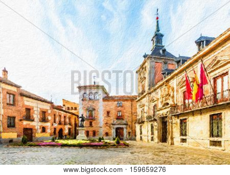 Plaza de La Villa in the old town of Madrid is probably the oldest civil square dating back to 15th century. Spain. Oil painting effect.