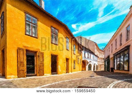 Street in the old town in the center of Baden bei Wien. It is spa town located about 26 km from Vienna. Austria. Oil painting effect.