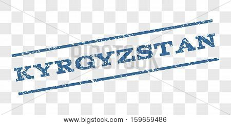 Kyrgyzstan watermark stamp. Text caption between parallel lines with grunge design style. Rubber seal stamp with scratched texture.