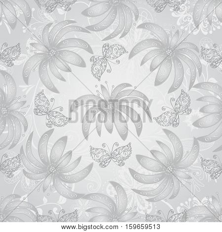 Vintage seamless pattern with gradient silvery flowers and lace butterflies vector eps10