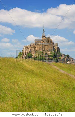 Mont Saint-Michel rocky tidal island in Normandy France