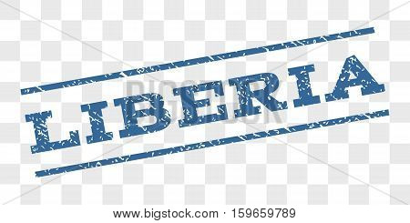 Liberia watermark stamp. Text tag between parallel lines with grunge design style. Rubber seal stamp with scratched texture. Vector cobalt blue color ink imprint on a chess transparent background.
