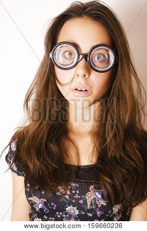 teenage bookworm concept, cute young woman in glasses, lifestyle people close up