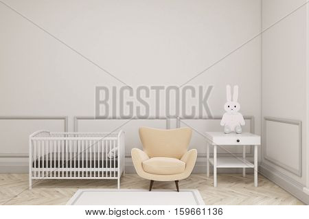 Baby's Room Interior With A Toy Bunny