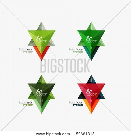 Set of triangle option infographic layouts. Select your product concept, make a choice idea