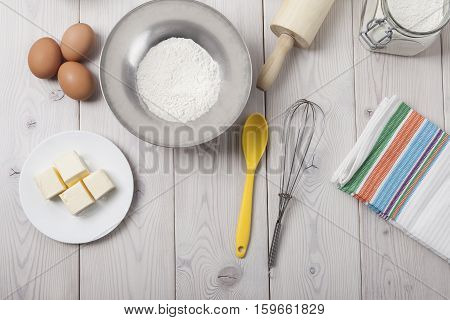 Top View Of Baking Ingredients On The Table