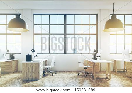 Office With Wooden Floor And Furniture, Toned