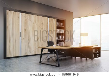 Ceo Office With Wooden Doors And A Bookcase, Toned