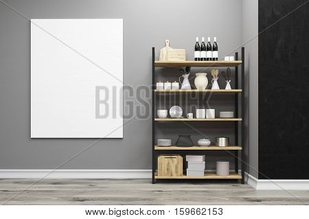Close Up Of A Kitchen Cupboard And A Poster