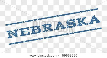 Nebraska watermark stamp. Text tag between parallel lines with grunge design style. Rubber seal stamp with dirty texture. Vector cobalt blue color ink imprint on a chess transparent background.