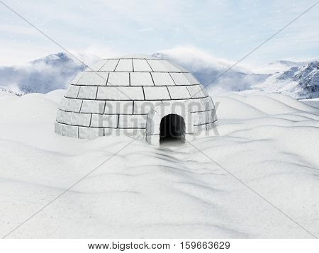 Igloo standing on snowy plane. 3D illustration.