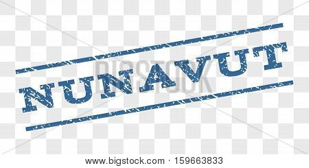 Nunavut watermark stamp. Text caption between parallel lines with grunge design style. Rubber seal stamp with dirty texture. Vector cobalt blue color ink imprint on a chess transparent background.