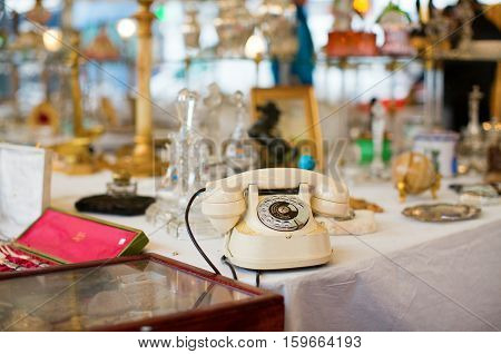 Vintage Telephone On A Parisian Flea Market
